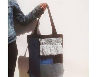 Denim, canvas, tote and backpack, fiber art