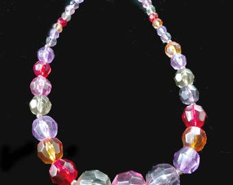 Multicolored Lucite Necklace Shiny Faceted Beading Retro