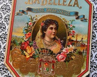 Original Lithograph La Belleza Outer Cigar Label Victorian Lady Floral Gilded Embossed