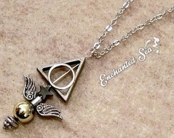 Silver & Pewter Harry Potter inspired Deathly Hallows Golden Snitch Quiddich Necklace - SALE!