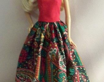 Handmade Barbie Clothes-Christmas Print Barbie Gown