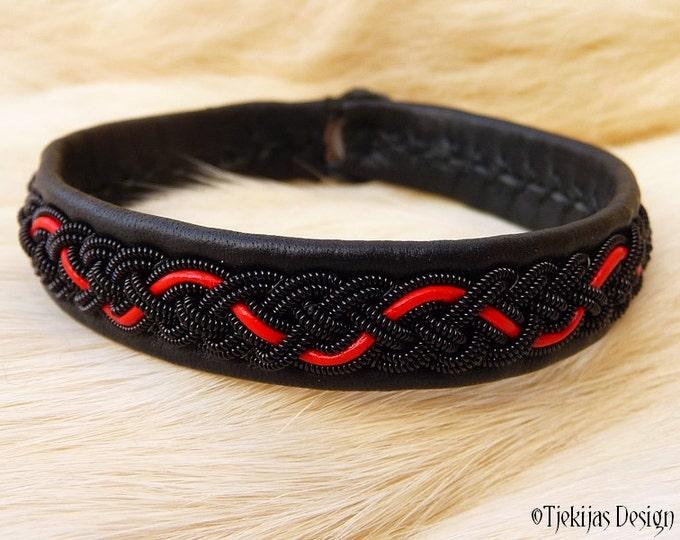 "Sami Viking Bracelet JORMUNGANDR size 17 cm / 6.7"" - 20% off OUTLET ready to ship- Black and Red Leather Bracelet Cuff Handmade Nordic Style"