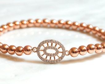 Rose Gold Bracelet, Delicate bracelet, Dainty Rose Gold bracelet, Layering bracelet, rose gold jewelry, bridal bracelet, Gift for her
