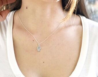 Small Silver Cubic Zirconia Hamsa Necklace, Hand Necklace, Hamsa Necklace, Silver Hamsa Pendant, Sterling Silver