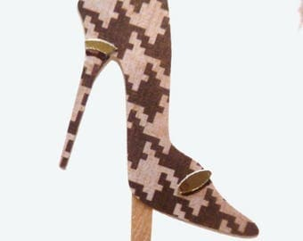 Brown Tan With Gold Buckle Trim High Heel Toppers