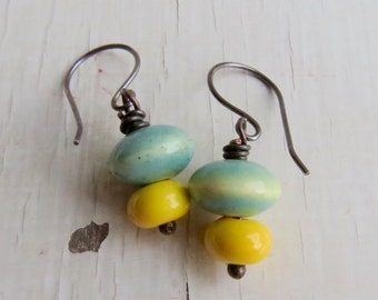 Sunshine and Blue Skies - handmade ceramic turquoise and yellow earrings with sterling silver earwires  - Songbead UK narrative jewellery