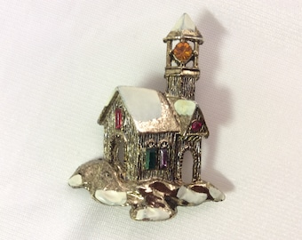 Vintage Snow Covered Church Brooch Pin.  Silver & Gold tone enamel base metal. Multi Color Rhinestone. VGC.