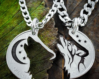 Howling Tribal Wolf with Moon necklaces, Best Friends jewelry, Coin that has been cut and etched