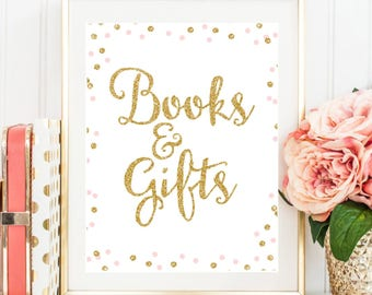 Books and Gifts Sign, Gold and Pink Baby Shower Sign, 8x10 Cards and Gifts Sign, Gift Table Sign, Baby Shower Printable Instant Download BB1