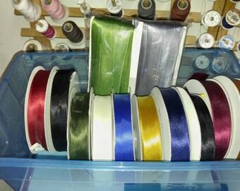 DESTASH SALE!  12 Spools of Satin Single Fold Bias Tape, 20mm, 25yd per Spool