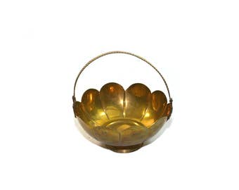 Vintage Brass Lotus Bowl Brass Lotus Basket Brass Lotus Dish Brass Basket Brass Flower Basket Flower Girl Basket