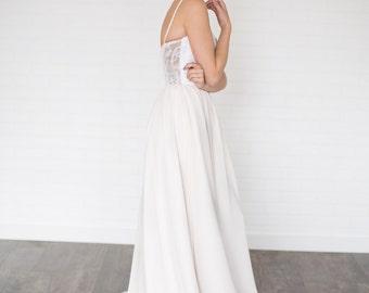 Daze Wedding Dress //Modern Boho Chiffon Wedding Dress / Sequin Sweet Heart Neckline with Illusion Lace Back/ Gathered Chiffon Flowing Skirt
