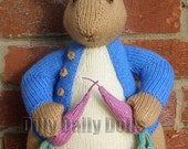 "Hand Knitted Toy Beatrix Potter Peter Rabbit from Alan Dart pattern  ""For Luveena ONLY"""