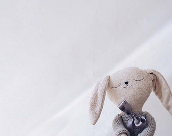 PREORDER - Benito the bunny with gray knitted jacket // handmade doll