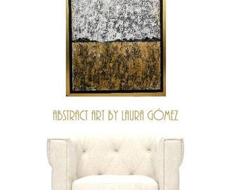"Free US Shipping!! ""The Wheat Field"" by Laura Gomez. 24X18"" + Floating Gold Frame- Modern Contemporary Abstract Minimal Gold and White Art"