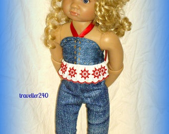 "18"" Kidz n Cats Doll Clothes, ""Nautical Blue"" Two Piece Outfit & Matching Headband, Halter Top and Capri Pants, Handmade by traveller240"