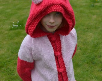 knitting pattern - Simple Pony Hoodie cardigan for children