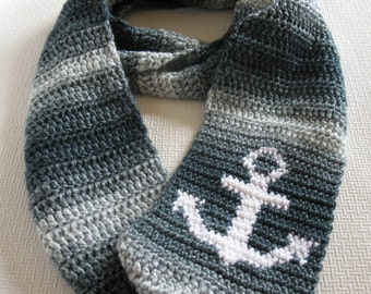 Anchor Scarf. Infinity, crochet cowl scarf with a white anchor. Denim blue striped, nautical circle scarf