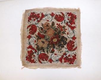 Antique Victorian raised Berlin woolwork stump wool work beadwork floral flower cross stitch design