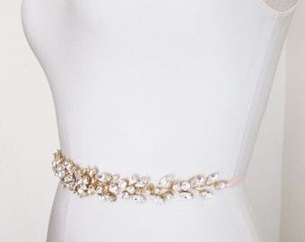 Swarovski floating crystal belt, Bridal belt sash, Gold crystal sash, Wedding Sash, Swarovski belt sash, Ribbon sash, Rhinestone belt sash