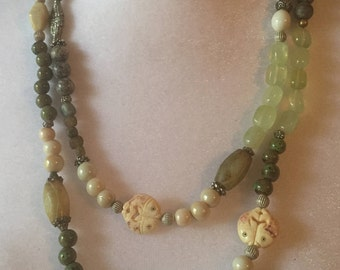 Flapper Length Greens Grays & Ivory 52 Inch Versitle Boho Glass Bead Necklace