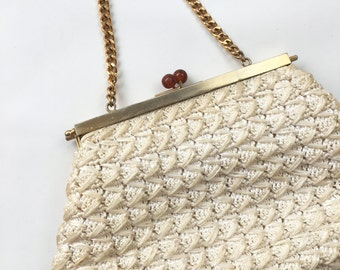 1940 1950 ivory straw gold day handbag vintage