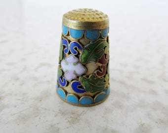 Cloisonne Thimble Art Sewing Collectible Vintage Chinese Floral