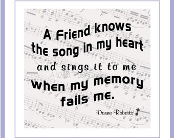 "CLEARANCE 4"" Friendship Fabric Patch ""A Friend Knows the Song in My Heart"" Cotton Quilt Block, Music Score Fabric, Gift for Friend"
