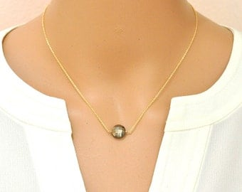 Pyrite Necklace, Golden stone Solitaire Necklace, Initial charm on back. Gift For Her