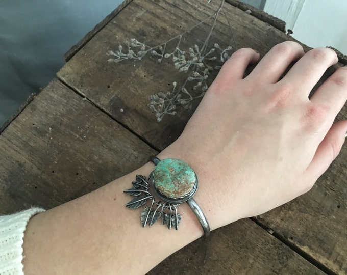 turquoise cuff with feather fringe, dream catcher cuff bracelet, .925 sterling silver jewelry, unique bohemian jewelry for brides to be