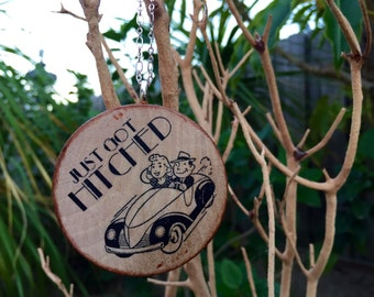 Just Got Hitched Christmas Tree Ornament on Stained Wood // Gold or Silver Plated Chain // Gift for Couple // Wedding // Stocking Stuffer