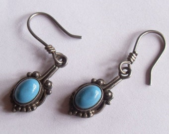 SALE Vintage Sterling Silver Turquoise Southwestern Style Pierced Dangle Earrings