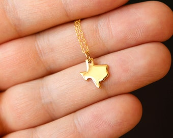 Texas State Necklace, Available in Sterling Silver and Vermeil and Gold Filled