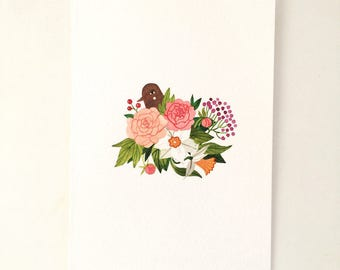 Original watercolor illustration - Bird and Flora