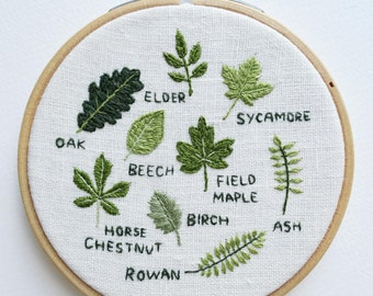 British Trees identified by their Leaves - Hoop Embroidery - 4 inches diameter