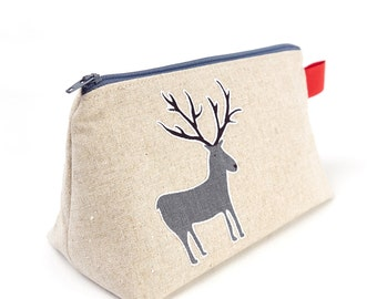 Deer Bag Men's Toiletry Bag Linen Wash Bag Turtle Applique Animal Bag Gift for Dad