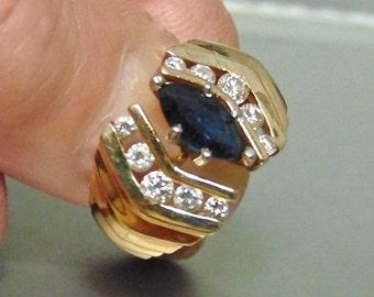 Sale, 14K Sapphire Diamond Ring, Vintage, 1.15 Carats, Blue Sapphire,September Birthstone