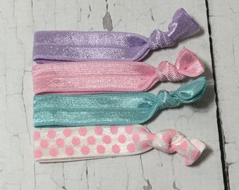 Stocking Stuffers - Girls/adults - Pink Polka Pastel  - Elastic Hair Ties Set - Girl, Toddler, Children