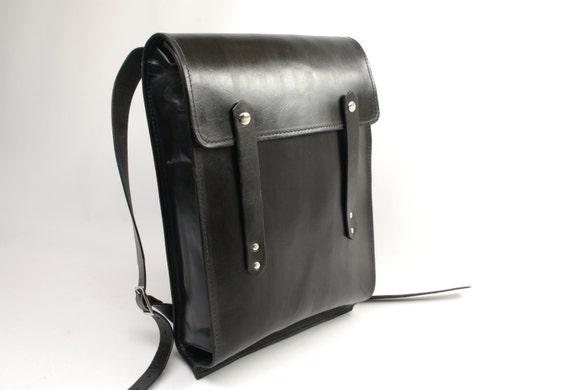 Black Large Leather Rucksack - CLEARANCE -