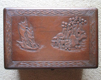 Antique Carved Box, Chinese Vintage Handmade Mid Century 1950's Hand Carved, Dove Tail Construction, Keepsake Trinket Storage, Display Asian