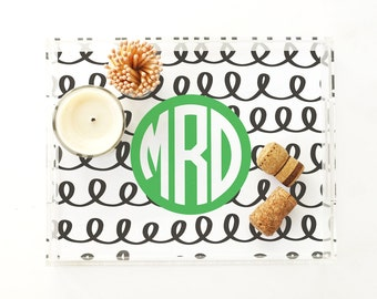 Personalized Acrylic Tray Monogram Lucite Tray Bar Cart Tray Bridesmaid Gift Catchall Jewelry Tray Black and White Acrylic Coffee Table Tray
