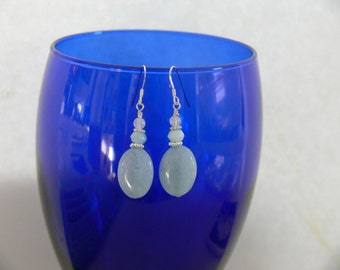 Aquamarine earrings with rainbow moonstone and sterling spacers