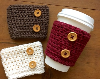 Wooden Button Coffee Cup Cozy, Coffee Sleeve, Crochet Cozy, Coffee Lover, Coffee Gift