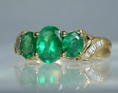 Vintage Ring 14k Yellow Gold 3 Oval Cut Emeralds With Accent Channel Set Baguette Diamonds Size 6 Ring