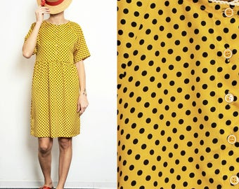 20% SALE (regular price 85) Yellow polka dots Smock Dress with Buttons [Sophia dress/Yellow-navy blue dots]]