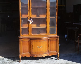 Vintage Shabby Chic French Provincial Hutch, Pantry, China Cabinet,PICK UP ONLY  Kitchen Storage, breakfront