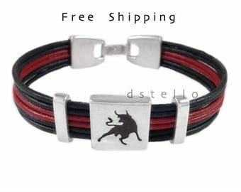 Mens leather bracelet, Custom mens leather bracelet, Bull bracelet, Taurus jewelry, Mens bracelet, Personalized color, Spanish first quality