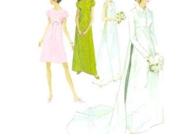 1960s MCCALLS 9227 Womens Bridal wedding dress Vintage Paper Pattern Long train empire waist puff sleeves jacket DIY wedding bust 34 1960s