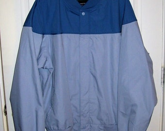 Vintage Mens Blue & Gray Windbreaker Golf Jacket by John Blair XL Only 11 USD
