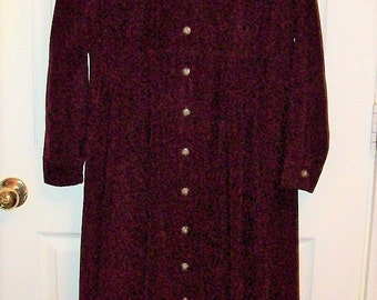 Vintage Ladies Wine Corduroy Dress by Fads Size 8 P Only 11 USD